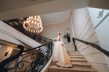 A beautiful bride in a dress with a long train is standing on the stairs. The wedding dress is cream colored.