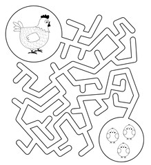 Easy maze game with hen and chicks / vector illustration for children