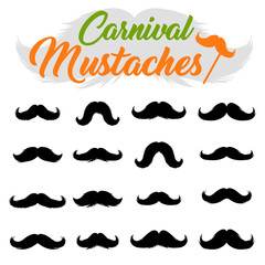 Moustaches Stickers Clipart Set. Black Silhouettes for Cinco de Mayo Paper Cutting Design. Different variations of mustaches for barbershop or Mustache Carnival
