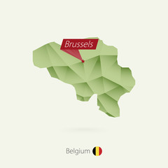 Green gradient low poly map of Belgium with capital Brussels