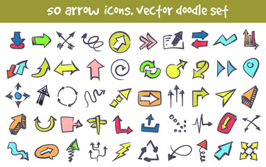 vector doodle arrow icons set