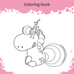 Color the cute cartoon sitting unicorn - coloring page for kids