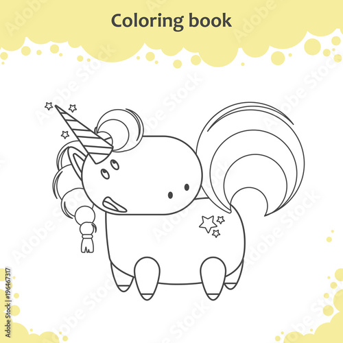 Color The Cute Cartoon Unicorn