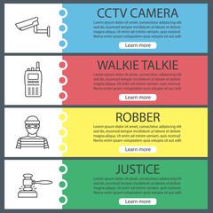 Police web banner templates set
