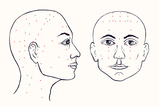 Face set (profile and front) acupuncture scheme with red points, hand drawn doodle, sketch in pop art style, black and white medical vector illustration