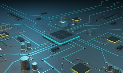 Multicore processor on an integrated circuit. Data streams. Neon lines. Integrated circuits. Chips RAM