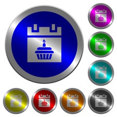 Birthday luminous coin-like round color buttons