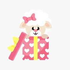 cartoon cute sheep girl with bow gift