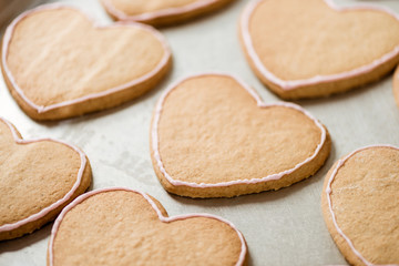 close-up shot of cookies in shape of heart on tray