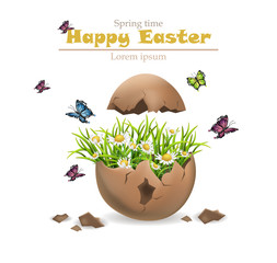 Happy Easter card Vector. Cracked egg and flowers