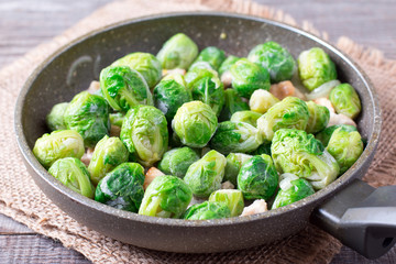 Brussels sprouts in a frying pan