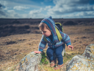 Little boy standing on the moor