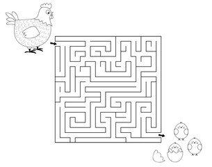 black and white maze game with hen and chicks / vector illustration for children