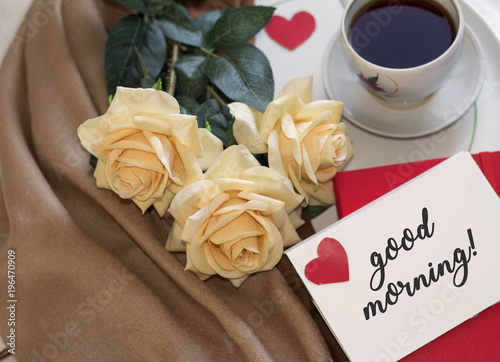 Romantic Card Concept With Morning Tea A Bouquet Of Roses A Cup Of