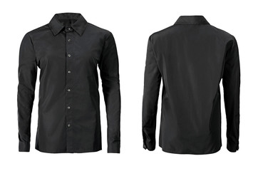 Black color formal shirt with button down collar isolated on white Fotobehang