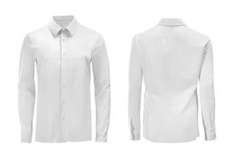 White color formal shirt with button down collar isolated on white Fotobehang
