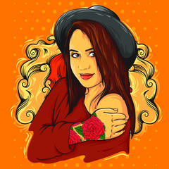 Beautiful and cute young woman, girl with tattoo rose and vintage hat, vector illustration isolated on vintage pop art background