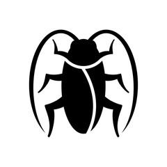 Icono plano cucaracha en color negro