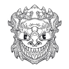 Ornament face mask of demon, dragon with many teeth and horns, vector black and white line art illustration isolated on white background