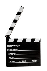 Film industry and directing a movie concept with a clapboard isolated on white with a clipping path cutout, in cinematography a clapper is used to synchronize the image with the sound
