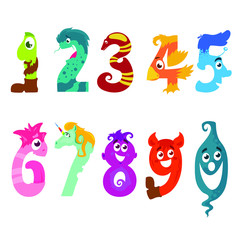 Cute and funny set on different numbers, cartoon characters, flat cartoon vector illustration isolated on white background
