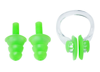 set of earplugs for swimming and clamp on the nose on a white background