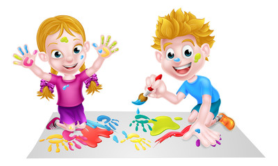 Kids Having Fun with Paints