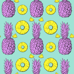 Pastel pattern with pineapple, vector illustration, repeat pattern
