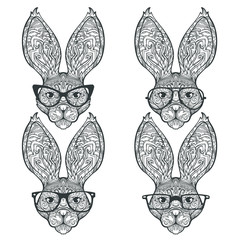 Set of face of ornament rabbit isolated on white background, isolated on white background, line art style