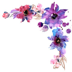 Cute watercolor hand painted flower corner. Invitation. Wedding card. Birthday card.