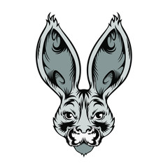 Emblem face of bunny, rabbit in grange line art design style, vector lack and white illustration isolated on white background