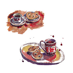 Watercolor sketch with spots in the cafe - cups, coffee, hot chocolate, waffles, cakes, biscuits.