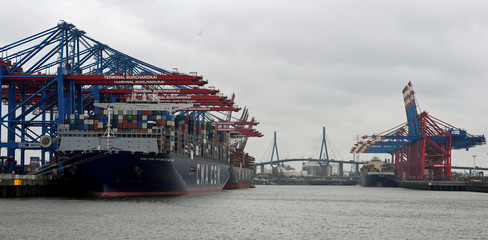 Container ship CMA CGM Antoine de Saint Exupery arrives at a loading terminal in the port of Hamburg