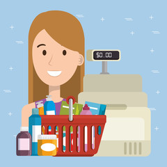 consumer with shopping basket of groceries