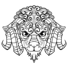 Ornament face line art of sheep with horns, vector cartoon Indian illustration isolated on white background
