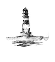 Watercolor illustration of lighthouse. Black and white picture, monochrome, black silhouette. sea landscape. Art illustration, greeting card. Beautiful tower.