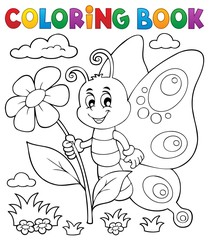 Coloring book happy butterfly topic 4