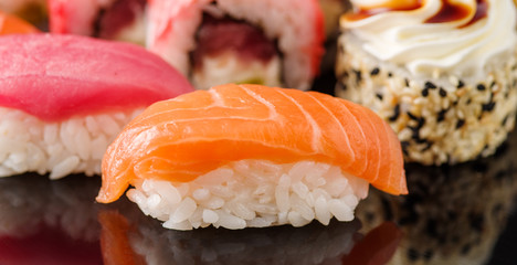 Sushi with salmon. Close-up. Macro shooting