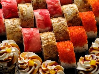 Sushi Set nigiri close up top view.