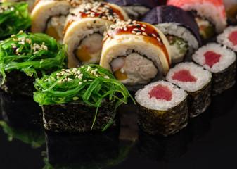 Sushi Set nigiri and gunkan close up.