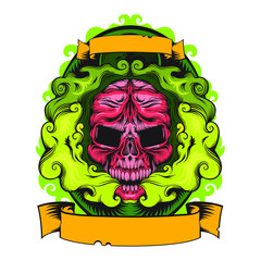 Smoking skull with green smoke, vector line art illustration isolated on white background, illustration with place for text, toxic colors