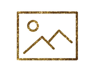 Golden glitter vector colorful picture with stand line icon