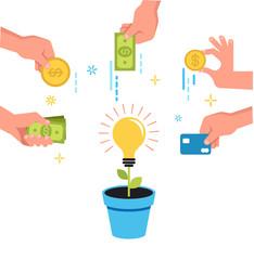 Crowdfunding money concept design
