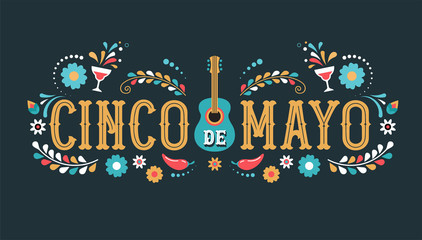 Cinco de Mayo - May 5, federal holiday in Mexico. Fiesta banner and poster design with flags Wall mural