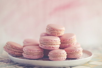 Plate of strawberry macaroons