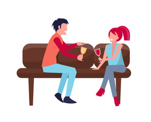 Man Woman on Sofa with Wine Vector Illustration