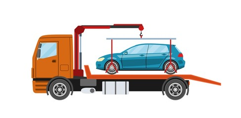 Wrecker truck with evacuated car. Towing truck evacuation service. Heavy evacuator. Vector illustration.