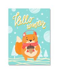 Hello Winter Cute Poster on Vector Illustration