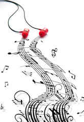 Music earphones on a white background with abstract musical notes. Music concept.