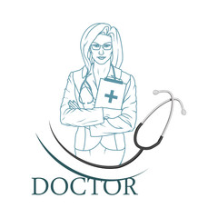 Young doctor with stethoscope. Doctor logo. Medical concept.